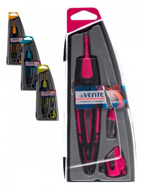 Готовальня deVENTE 3 предмета в пластиковом пенале с блистерным подвесом