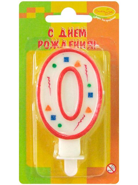 """Свеча-цифра """"0"""" красное конфетти"""