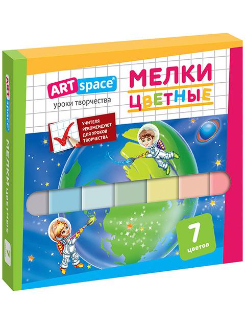 Мел цветной ArTSpace, 7 штук, в картонной коробке