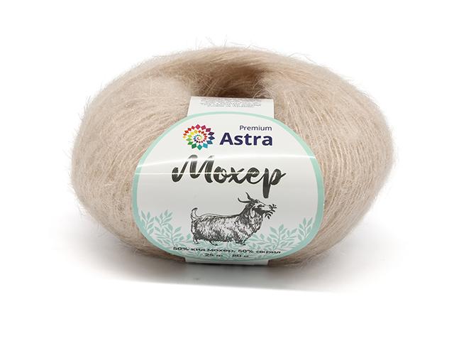 "Пряжа Astra ""Premium. Мохер"" светлый беж 25гр. 80м. (50% кид мохер, 50% акрил)"