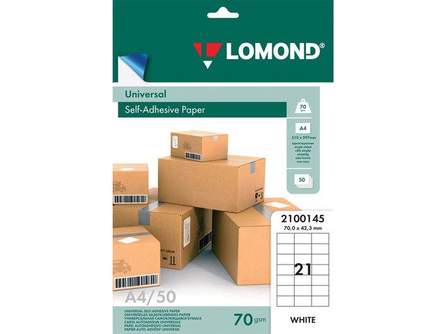 Этикетки Lomond А4, 21 шт на листе, 70х42,3 мм прямоуг. белая, 50 листов в упак.