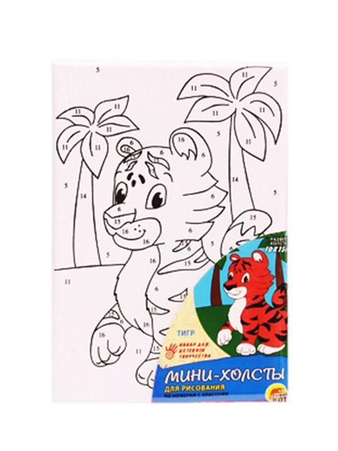 """Набор для детского творчества """"Холст с красками (мини). Тигр"""" 10х15 см"""