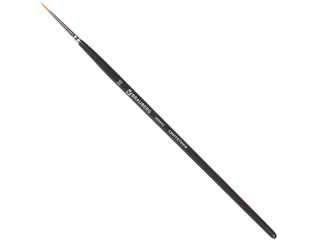 Кисть BRAUBERG, синтетика, круглая, №00, жесткая, короткая ручка