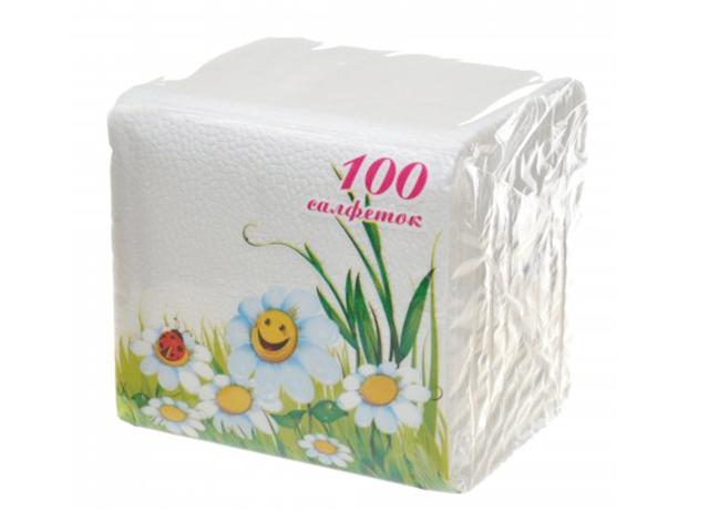 Салфетки бумажные Lizzi, однотонные цветные, белые, 100 шт