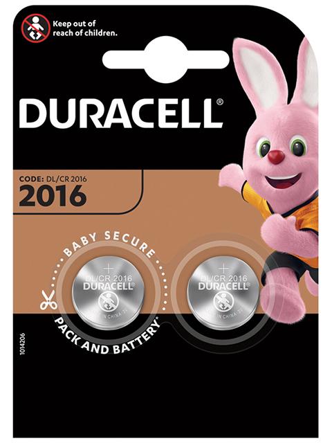 Батарейка литиевая (таблетка) Duracell CR2016 (2шт) блистер