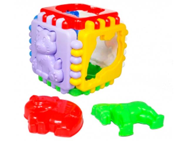 """Игра """"Логический куб. Любимая ферма"""" средний 10х10 см, со сквозными отверстиями"""