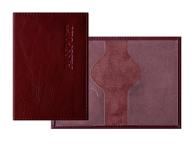 """Обложка для паспорта Office Space """"Элегант"""" кожа, гранат"""