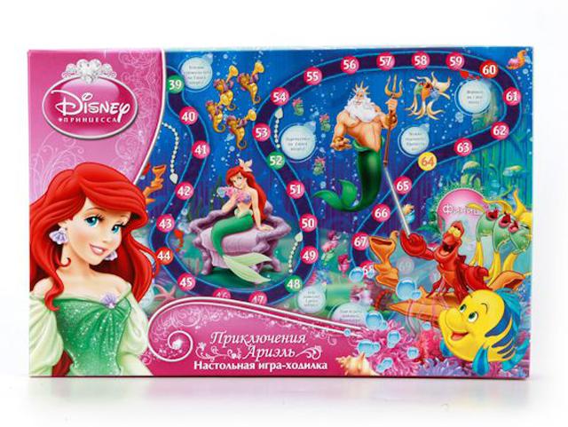 """Игра настольная """"Дисней. Принцесса. Приключения Ариэль"""" ходилка, в коробке"""