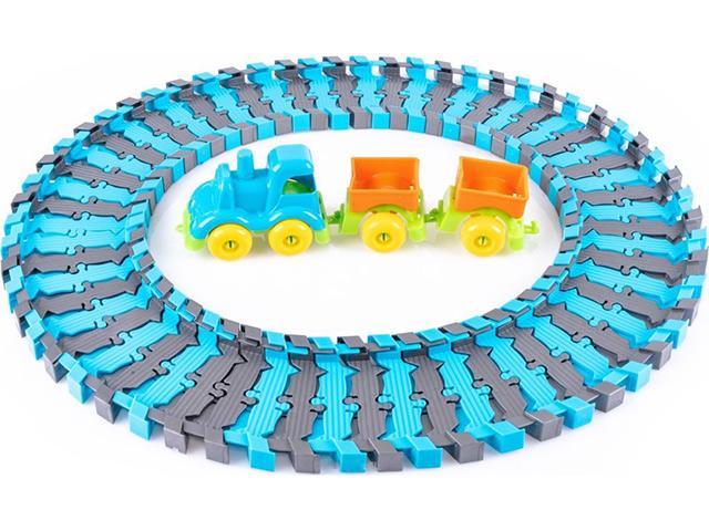 """Игровой набор KNOPA """"Железная дорога с паровозом и вагонами"""" 60 деталей"""