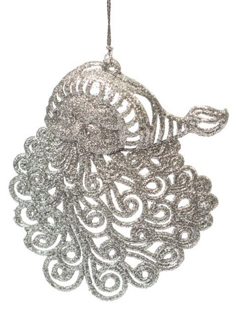 """Новогоднее украшение """"Санта серебрянный"""" 9х11х0,2 см, пластик"""