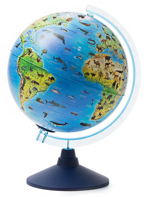Глобус интерактивный d=250мм Зоогеографический, с подсветкой от батареек