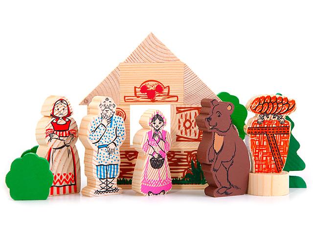 """Игровой набор Томик """"Сказки. Маша и медведь"""" 17 деталей, дерево"""
