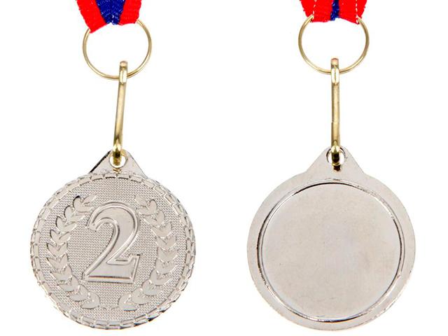 """Медаль призовая """"2 место"""" 041 3,2 см, металлическая, на ленте, серебро"""