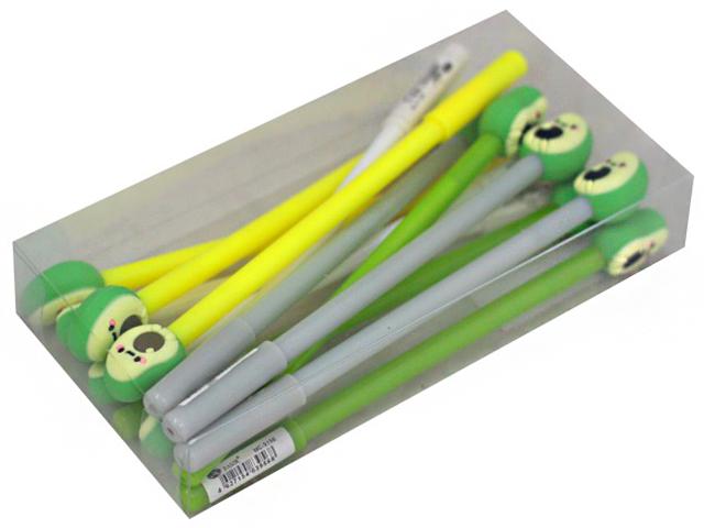 """Ручка шариковая Basir """"Авокадо"""" 0,7 мм, с фигурным клипом, ассорти, синяя"""