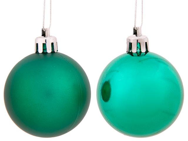 Елочное украшение Шар матовый зеленый, 5см, пластик