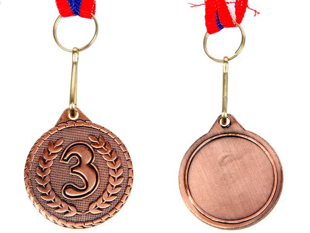 """Медаль призовая """"3 место"""" 041 3,2 см, металлическая, на ленте, бронза"""