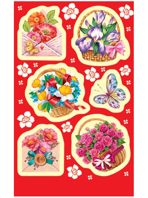 "Наклейки ""Цветы"" 6 штук на листе 9х15 см"