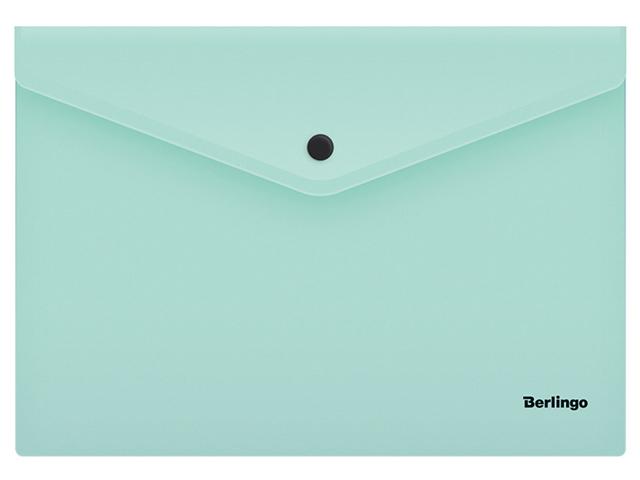 """Папка-конверт на кнопке А4 Berlingo """"Instinct"""" 180 мкм, мятный"""