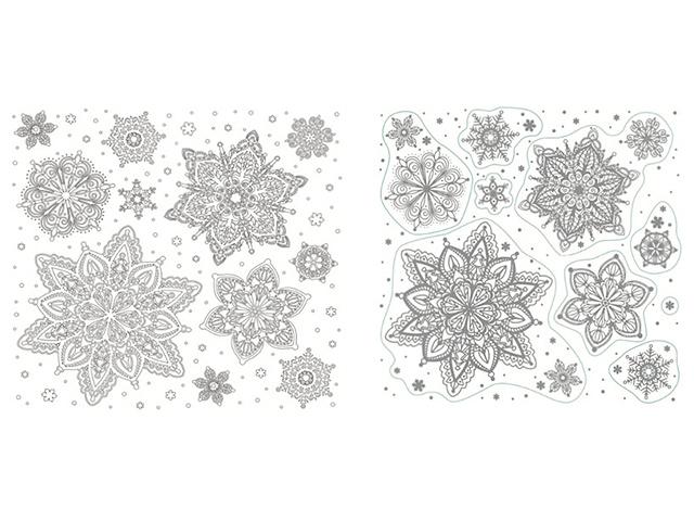 """Новогоднее украшение """"Снежинки"""" 30х29 см, оконное, с раскраской, светится в темноте, ПВХ пленка"""