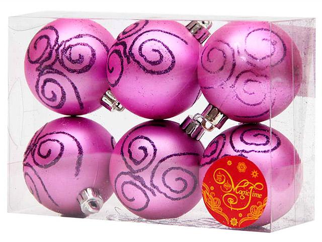 Набор елочных шаров MagicTime, 6 см, 6 шт, фиолетовые с пурпурной вьюгой, пластик