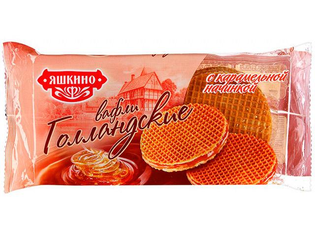 Вафли Яшкино Голландские 36 г с карамельной начинкой