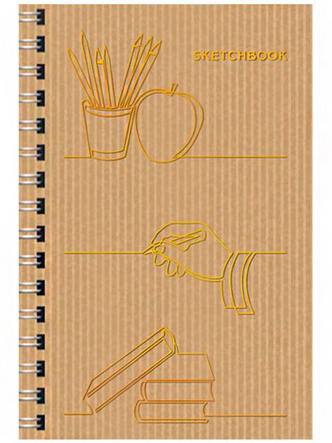 """Скетчбук А5 80 листов Paper Art """"Волшебные линии"""" твердая обложка, на евроспирали"""