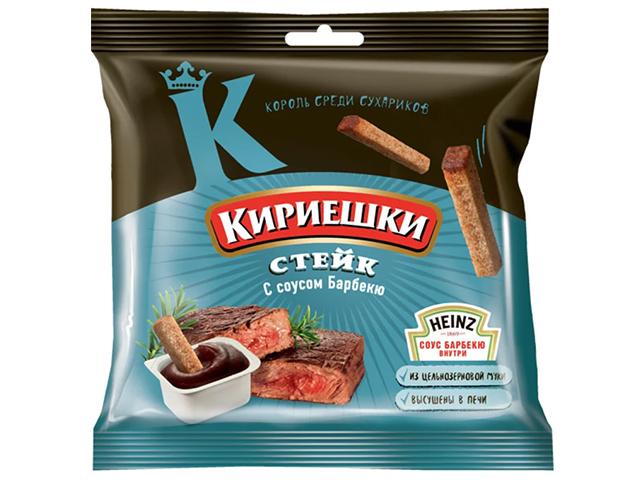 "Сухарики ""Кириешки"" 60г+25мл, ""Стейк + соус барбекью"""