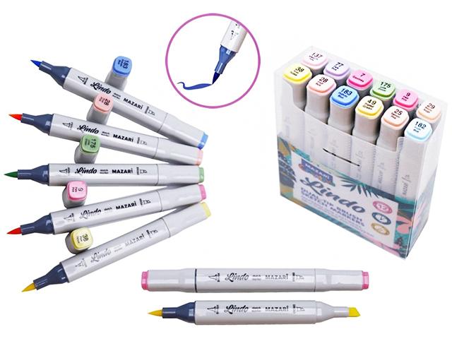 """Набор маркеров для скетчинга Mazari """"Lindo"""", 1-7 мм, двусторонние, 12 цветов (пастельные цвета)"""