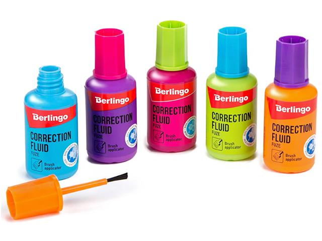 """Корректирующая жидкость Berlingo """"Fuze"""" 20 мл, на химической основе, с кисточкой"""
