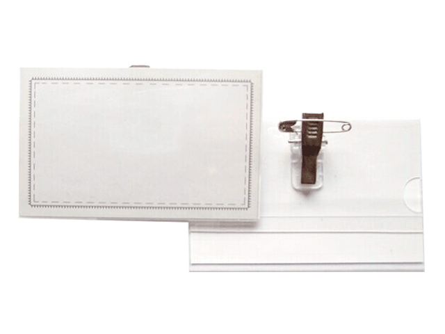 Бейдж Attomex 60*90 мм, с булавкой и клипом, прозрачный
