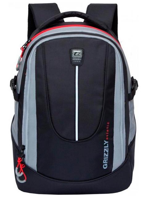 Рюкзак подростковый GRIZZLY 30х44х20 см, полиэстер, черный-серый