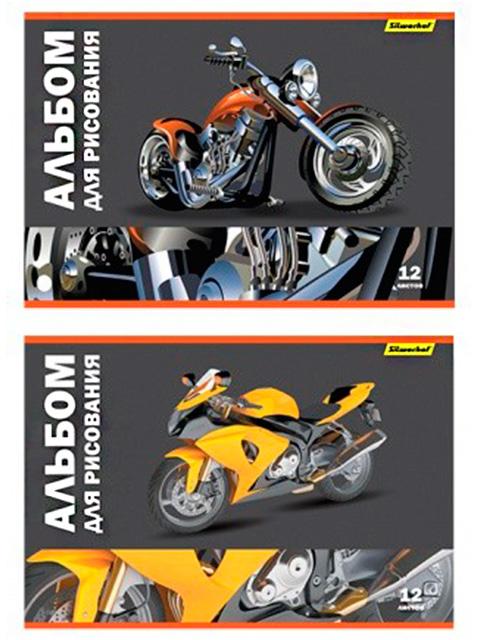"""Альбом для рисования А4 12 листов Silwerhof """"Мотоциклы"""" обложка мелованный картон"""