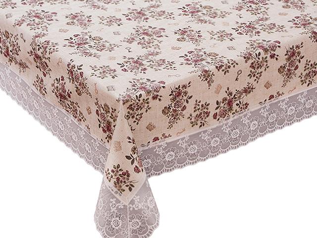 """Скатерть столовая """"Meiwa. Flannel"""" с ажурной каймой на нетканной основе122х152 см, ПВХ"""