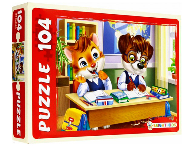 "Пазлы 104 элемента 330х240 Рыжий кот ""Bright kids. Котенок и щенок на учебе"""