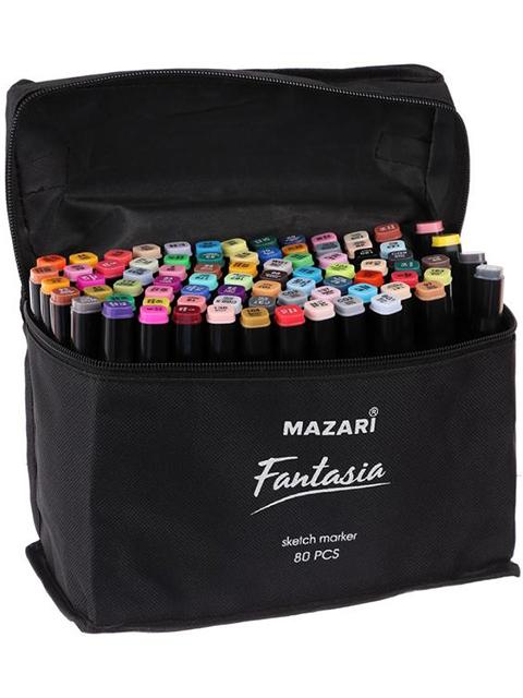 """Набор маркеров для скетчинга Mazari """"FANTASIA"""", 1-7 мм, двусторонние, 80 цветов в текстильной сумке"""
