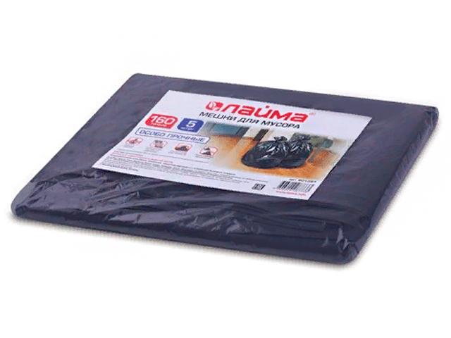 Мешки для мусора, 160 л, комплект 5 шт., в упаковке, ПВД, особо прочные, 90х120 см (±5%), 50 мкм, черные, ЛАЙМА, 601391