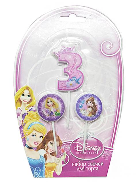 """Набор свечей для торта """"Дисней. Принцессы"""" (цифра """"3"""" и 2 медальона)"""