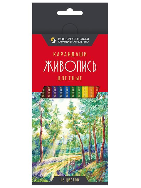 """Карандаши цветные ВКФ """"Живопись"""" 12 цветов, в упаковке с европодвесом"""