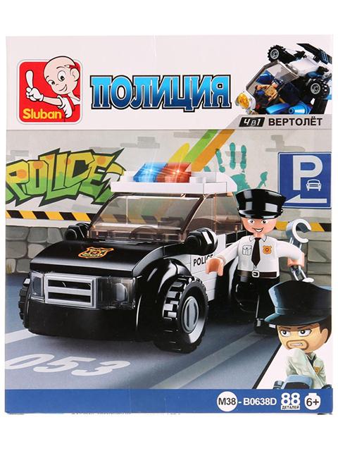 """Конструктор SLUBAN """"Полиция. Машина"""" 88 деталей"""