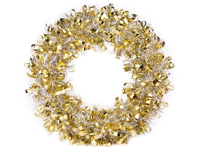 """Новогоднее украшение """"Венок золотисто-серебристый"""" d-28 см, пластик"""