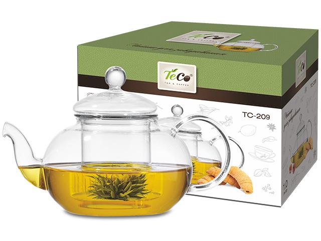 Чайник заварочный TECO 1000мл., с ситом и крышкой из стекла., нерж., сталь