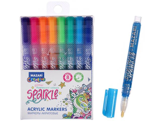 """Набор маркеров-красок """"Mazari Sparkle"""" 8 цветов с блестками акрил"""