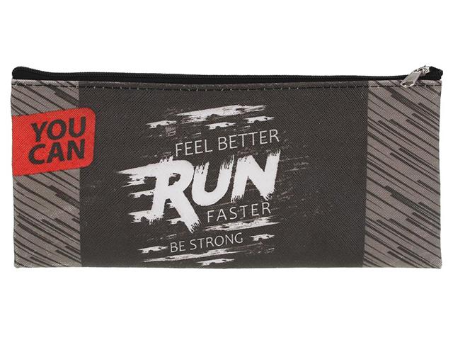 "Пенал-косметичка ""Run Faster"" 21х10 см, ПВХ, на молнии"