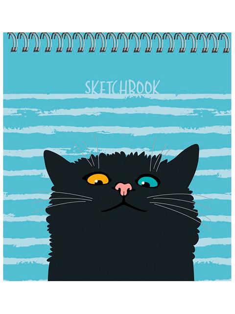 """Скетчбук А6+ (165х165) 50 листов Paper Art """"Любопытный кот"""" обл. 7БЦ матовая ламинация, на евроспирали"""