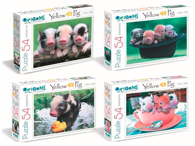 """Пазлы 54 элемента Оригами """"Yellow Pig"""" 130х180 мм"""