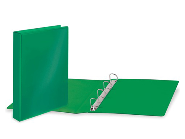 Папка на 4 кольцах BRAUBERG, картон/ПВХ, с передним прозрачным карманом, 50 мм, зеленая, до 300 листов, 223532