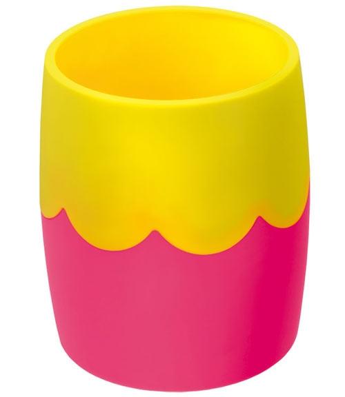 Стакан для письменных принадлежностей СТАММ двухцветный розово-желтый