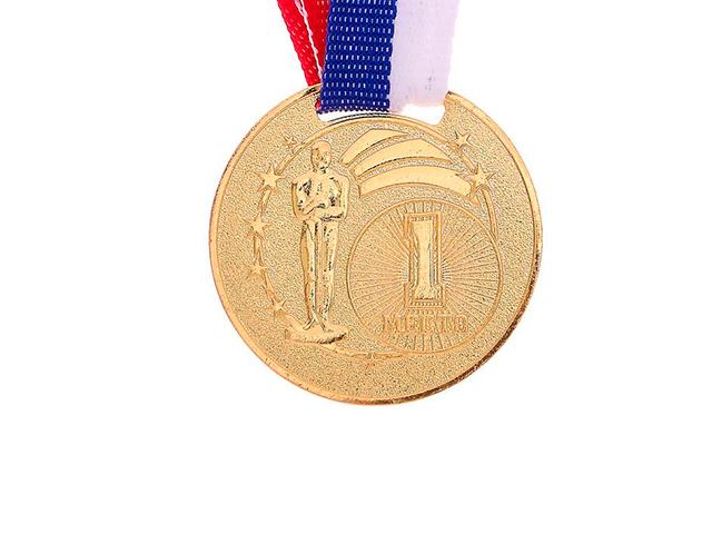 """Медаль призовая """"1 место"""" 067 3,5 см, металлическая, на ленте, золото"""