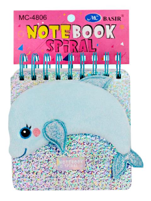 """Блокнот детский Basir """"Дельфин"""" 150 листов,13х13 см, с текстильным декором, на гребне"""