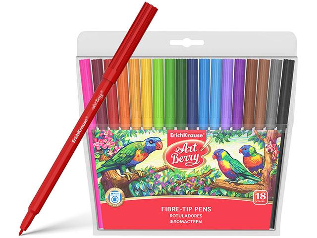 """Фломастеры Erich Krause """"ArtBerry. Super Washable"""" 18 цветов, смываемые, в блистерной упаковке"""